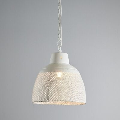 Riva Perforated Iron Dome Pendant Light, Small, Matte White