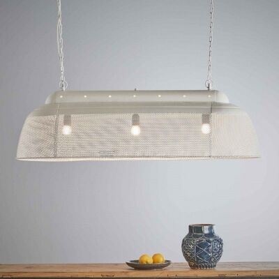 Riva Perforated Iron Elongated Pendant Light, Small, Matt White