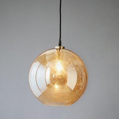 Lustre Glass Pendant Light, Ball, Pale Gold