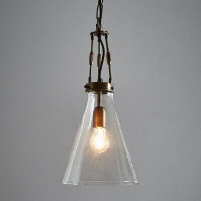 Galveston Glass & Metal Adjustable Pendant Light, Small, Antique Brass