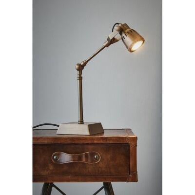 Hanover Solid Brass Adjustable Desk Lamp, Antique Brass