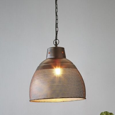 Riva Perforated Iron Dome Pendant Light, Small, Matte Black
