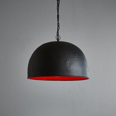 Noir Riveted Iron Dome Pendant Light, Small, Black / Red