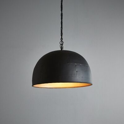 Noir Riveted Iron Dome Pendant Light, Small, Black / Gold