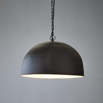Noir Riveted Iron Dome Pendant Light, Large, Black / White