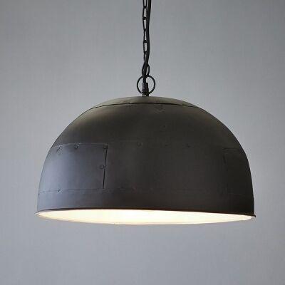 Noir Riveted Iron Dome Pendant Light, Small, Black / White