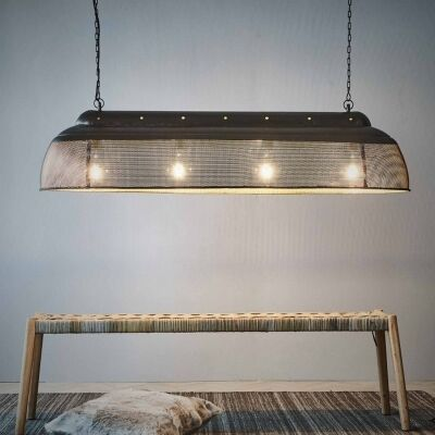 Riva Perforated Iron Elongated Pendant Light, Large, Matte Black