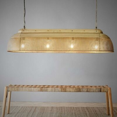 Riva Perforated Iron Elongated Pendant Light, Large, Antique Brass