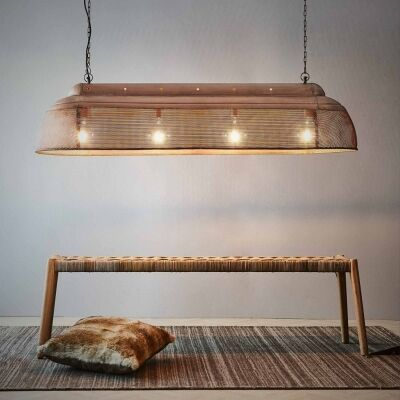 Riva Perforated Iron Elongated Pendant Light, Large, Antique Copper