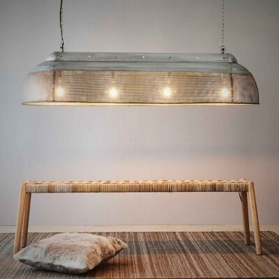 Riva Perforated Iron Elongated Pendant Light, Large, Zinc