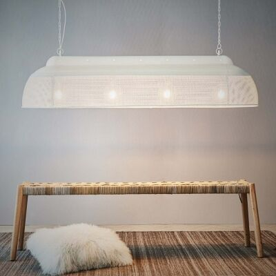 Riva Perforated Iron Elongated Pendant Light, Large, Matte White