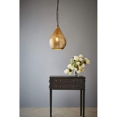 Orion Perforated Metal Pendant Light, Teardrop, Small, Brass