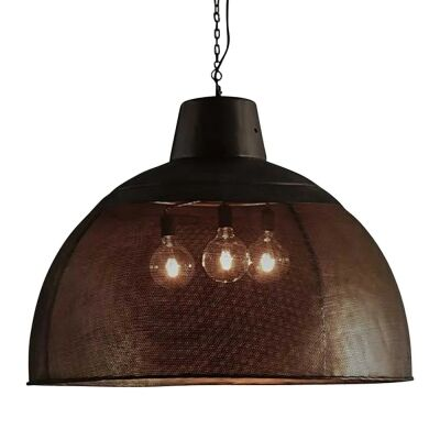 Riva Perforated Iron Dome Pendant Light, Extra Large, Matte Black