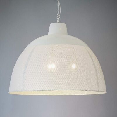 Riva Perforated Iron Dome Pendant Light, Extra Large, Matte White
