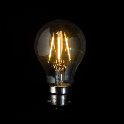 A60 LED Filament Light Bulb, B22, Clear