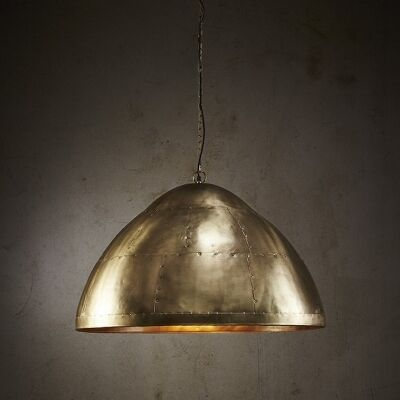 Jermyn Riveted Iron Dome Pendant Light, Large, Antique Brass