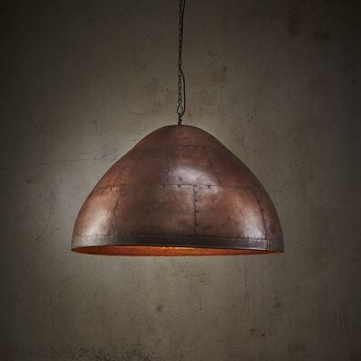 Jermyn Riveted Iron Dome Pendant Light, Large, Antique Copper