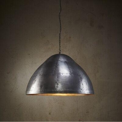 Jermyn Riveted Iron Dome Pendant Light, Large, Zinc