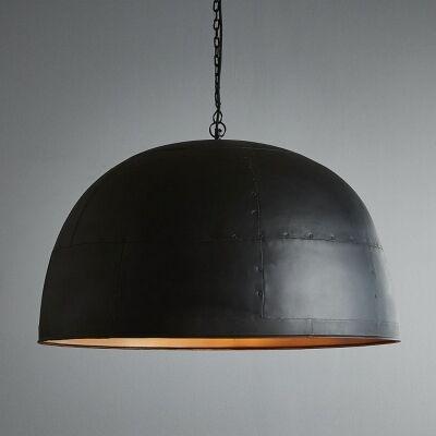 Noir Iron Dome Pendant Light, Large, Black / Gold