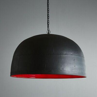 Noir Iron Dome Pendant Light, Large, Black / Red