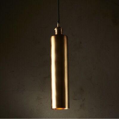 Zurich Metal Tube Pendant Light, Antique Brass