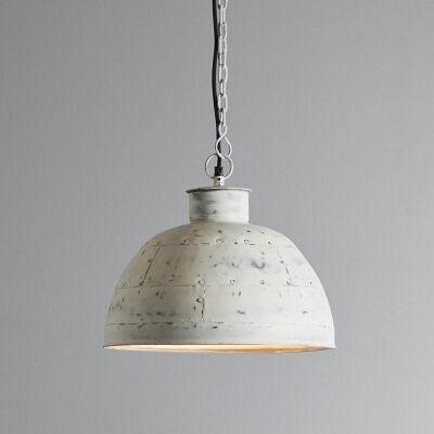 Granada Riveted Iron Dome Pendant Light, Small, Vintage White