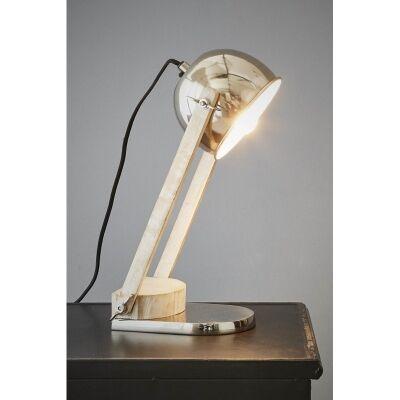 Karl Metal & Wood Adjustable Desk lamp, Silver