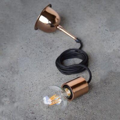 Michigan Metal Suspension Cord Pendant Light, Copper