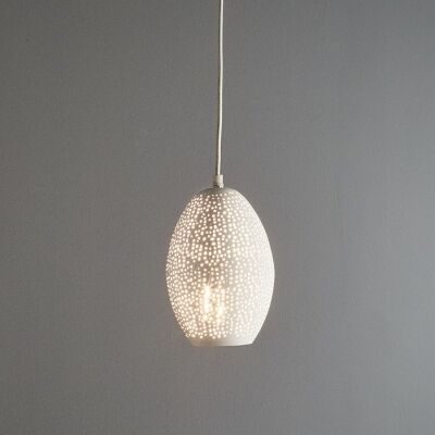 Stella Perforated Metal Pendant Light, White