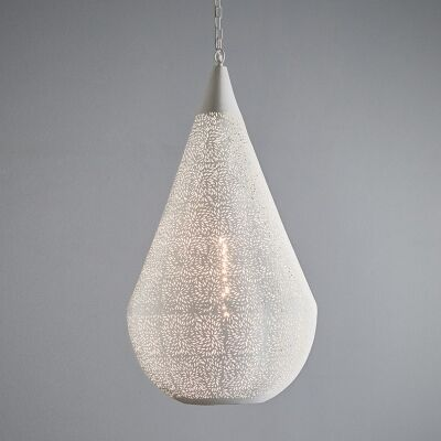 Orion Perforated Metal Pendant Light, Teardrop, Large, White
