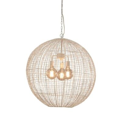 Cray Metal Wire Ball Pendant Light, Large, White