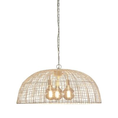 Cray Metal Wire Dome Pendant Light, White