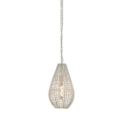 Cray Metal Wire Teardrop Pendant Light, Small, White