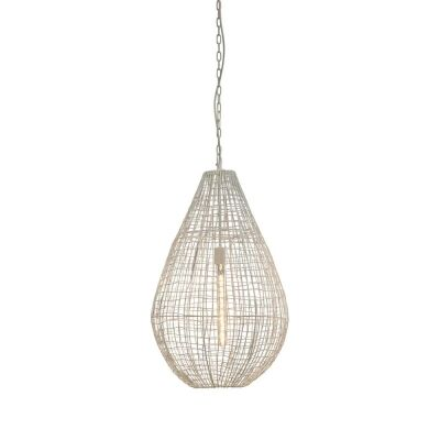 Cray Metal Wire Teardrop Pendant Light, Large, White