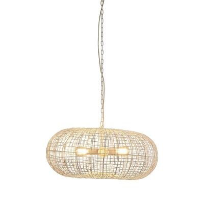 Lobster Metal Wire Ellipse Pendant Light, White
