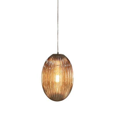 Costolette Ribbed Glass Pod Pendant Light, Medium, Smoke Grey