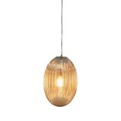 Costolette Ribbed Glass Pod Pendant Light, Medium, Champagne