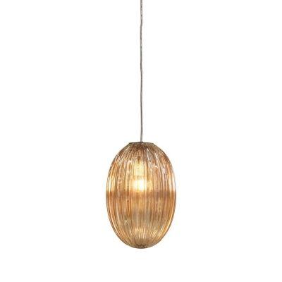 Costolette Ribbed Glass Pod Pendant Light, Small, Champagne