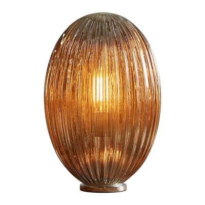 Costolette Ribbed Glass Pod Table Lamp, Medium, Smoke Grey