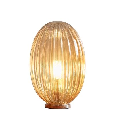 Costolette Ribbed Glass Pod Table Lamp, Small, Champagne