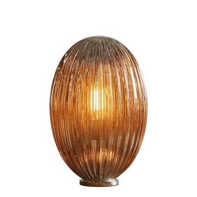 Costolette Ribbed Glass Pod Table Lamp, Small, Smoke Grey