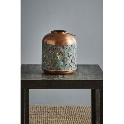 Fez Perforated Metal Moroccan Hurricane Lantern, Small