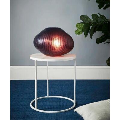 Paris Freeform Hand Cut Art Glass Table Lamp, Large, Ruby