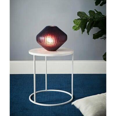 Paris Freeform Hand Cut Art Glass Table Lamp, Small, Ruby