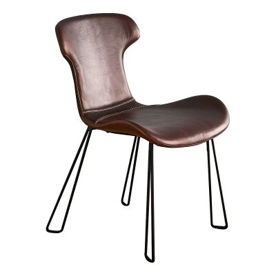 Yonkers Leather Dining Chair, Brown