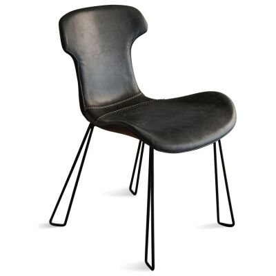 Yonkers Leather Dining Chair, Black