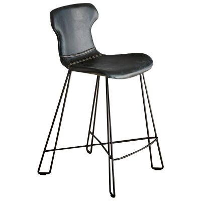 Yonkers Leather Counter Stool, Black