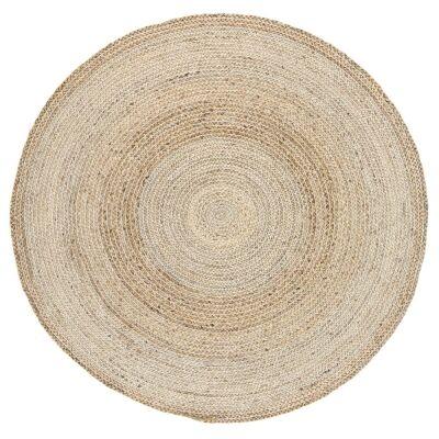 Zari Jute Round Rug, 200cm, Silver