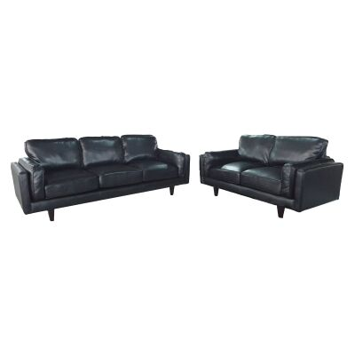 Zodiac 2 Piece Leather Look Fabric Sofa Set, 3+2 Seater, Black