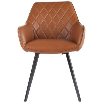 Draycott Faux Leather Dining Chair, Vintage Cognac